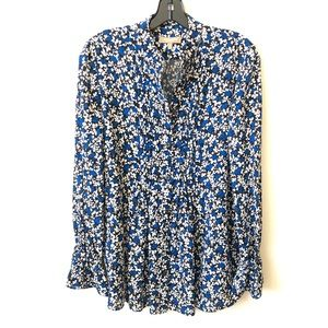 Michael Kors Collection Black/ Blue Floral Blouse
